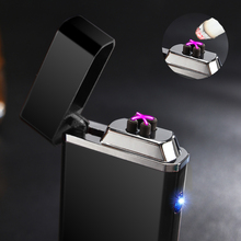 New USB Electric Double Arc Lighter Rechargeable Windproof Torch Lighter Cigarette Dual Thunder Pulse Cross Lighter Plasma(China)