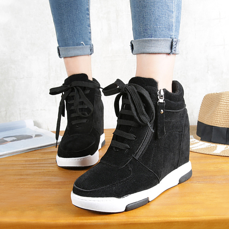 New 2017 Women Shoes Hidden Wedges With Zipper Casual Elevator Shoes Platform Wedges Loafers Creepers High Heels Zapatos Mujer<br><br>Aliexpress