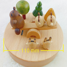 Lovely carton wooden music box Creative crafts home decorations Handmade wooden carousel seesaw music box 7007
