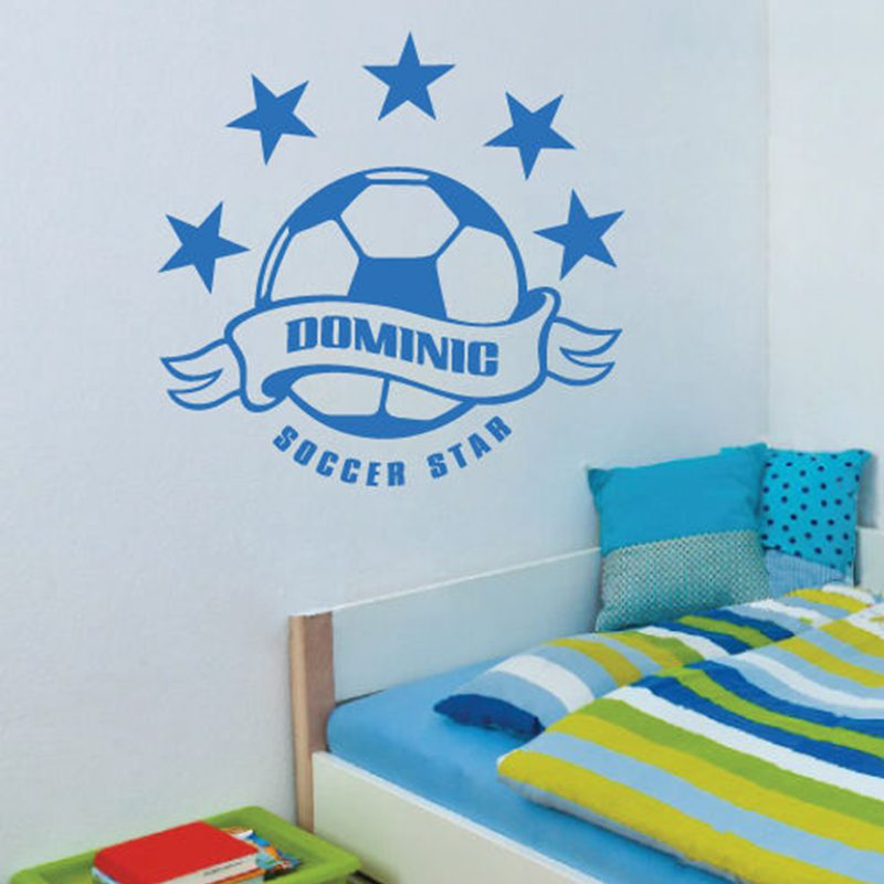 Football Sticker Name Soccer Decal Kids Room Posters Vinyl Wall Decals Car Parede Decor Mural Football Sticker