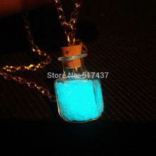 Steampunk bottle necklace Magic Fire Fairy Angel  pendant charm Glow in the dark bottle vial Aqua