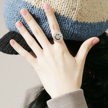Women Sweet Rhinestone Crystal Round Smile Face Finger Ring Girls Ladies Fashion Jewelry