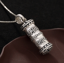 925 Sterling Silver Buddhism Namo Amitabha Mantra Prayer Box Pendant A2225(China)