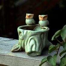 New 2pcs Modern Classic Ceramic Wedding Home Decor Owl Artificial Succulant Plant Pot Table Vase VA001