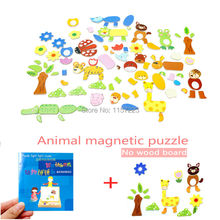 4 styles Animal/Farm /Forest/Cartoon figure Wooden Magnetic Puzzle Toys Multifunctional Educational Jigsaw toy for Children Kids(China)