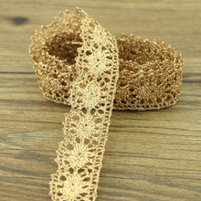 10 yards gold code fashion DIY gold lace knitting pattern exquisite handmade DIY accessories(China)