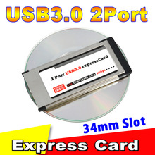 KEBETEME Hot sale Express Card Expresscard 34mm to USB 3.0 2 Port Adapter PCI Express Card for laptop notebook(China)