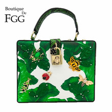 Green Banana Leaf Small Insects Appliques Women Fashion Handbags Shoulder & Crossbody Bags Ladies Casual Evening Party Totes Bag(China)