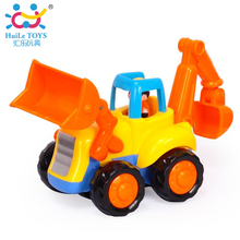 1PC HUILE TOYS 326A New Baby Cars Truck Toy Kids Toys For Children Small Pull Back Bulldozer Truck Toys Boys Brinquedos Juguetes(China)