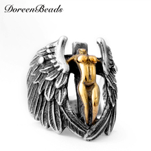 DoreenBeads Angel Wings Cross Ring Men 316L Stainless Steel Punk Jewelry Fashion Vintage High Quality Mens Rings Rock Party Gift