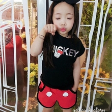 Summer Style Children Girl Cartoon Minnie Mouse clothing Set Kids Boys clothes Set baby Short Sleeve T shirt+shorts/pant Suits