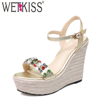 WETKISS 2017 Nature Genuine Leather Women Sandals Shine Color Crystal Sandals Straw Weave Wedges Platform Open toe Summer Shoes
