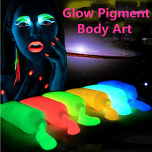 10colors/lot Glow in the dark Pigment Body Painting,Halloween/Party Glowing Paint Fluorescent UV,body art Make up pigment