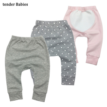 Baby cotton Boys Pants cartoon print knitted toddler girl Leggings elastic waist busha pp pant trousers baby clothes 3pcs/lot(China)