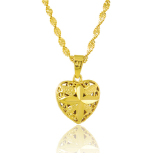 ANDARA Hot Sale Gold Filled Heart Pendant Necklace Women Girl Colar Yellow Gold Color Woman Chain Necklace Jewelry P020
