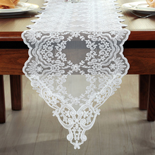 Thai Embroidered Lace Table Runner  European Style White Table Cloth American TV Cabinet Coffee Pastoral Table Runner