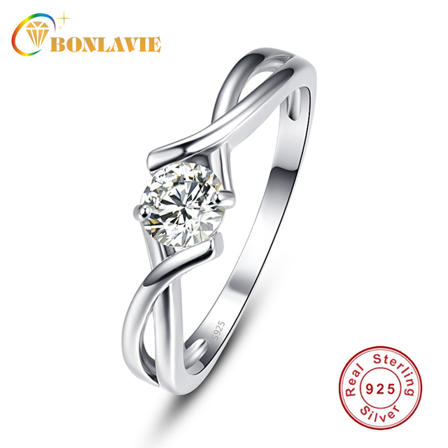 BONLAVIE 5x5mm White Zircon Ring Female Simple Silver 925 Jewelry Gift Round Cut bijoux anel female Ring for Women Fine Jewelry