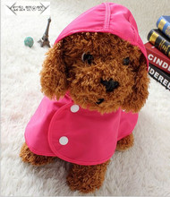 Free shipping  2 colours Raincoat Dog Clothes Pet clothes Teddy poodle puppy dog poncho raincoat legs