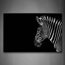 Black And White Portrait Of Zebra Head Black Background Wall Art Painting Pictures Print On Canvas Animal For Home Decoration