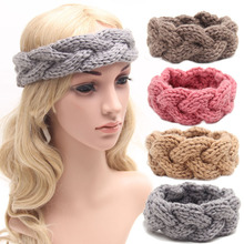 winter knitted women adult warm crochet braided headband wool scrunchy elastic headbands hair head bands accessories for women