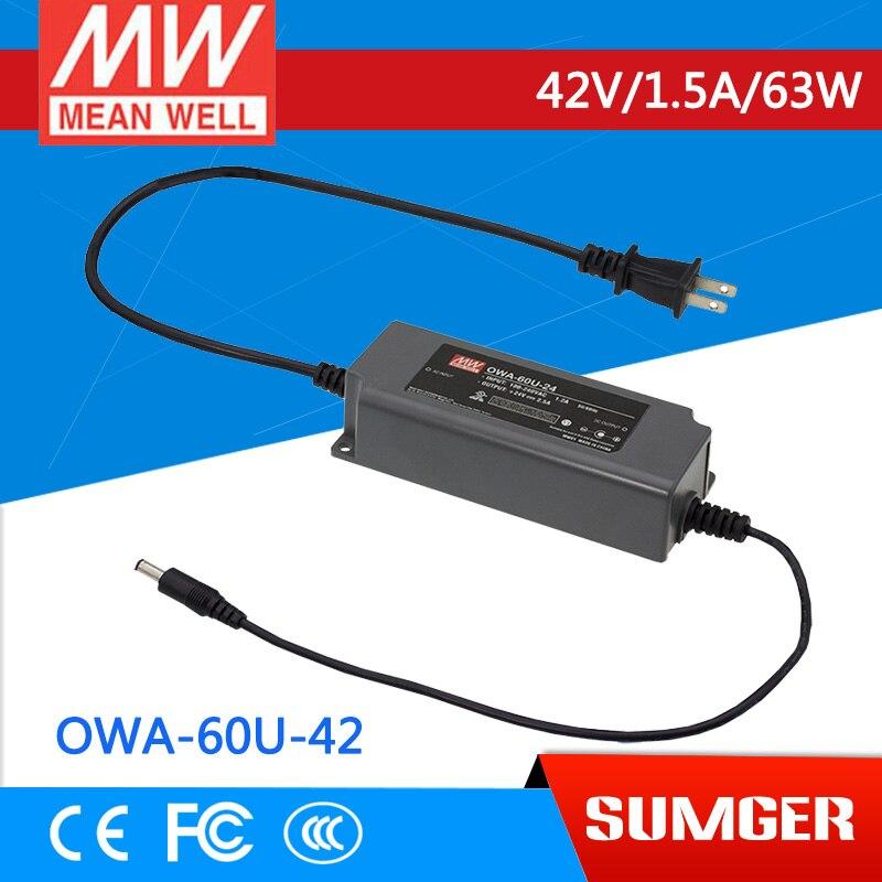 1MEAN WELL original OWA-60U-42 42V 1.43A meanwell OWA-60U 42V 63W Single Output Moistureproof Adaptor USA Type<br>