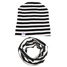 2017 Spring Autumn crochet baby cotton baby hat scarf kids girls knit beanies stripe baby cap baby hat kids winter hat