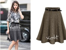 Skirts Womens Retro High Waist Pleated Skirts Knee-Length High Waist Casual Khaki And Grey Autumn And Winter Wool Skirt 2017 New