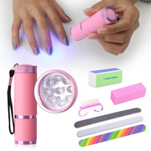 Belen 9W Nail Dryer LED Flashlight UV Lamp Portable Tools Set Nail Art File Nail Buffers Durable Buffing Grit Sand Block KIT(China)