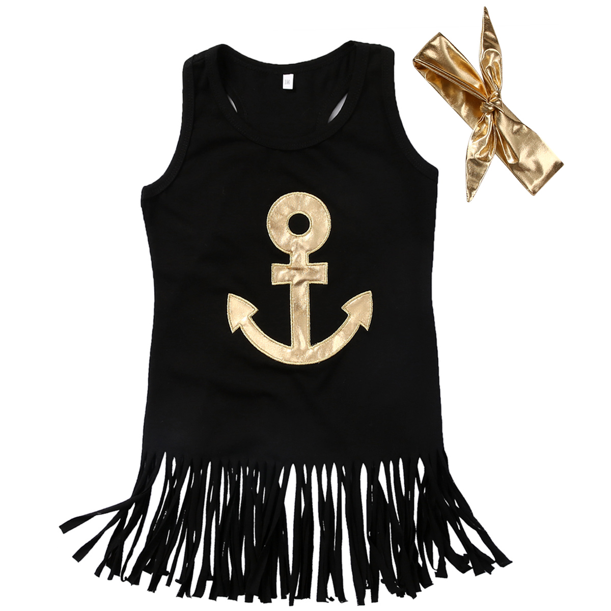 Fashion Baby Girls Toddler Kids Black Sleeveless Anchor Tassel Dress+Headband Casual Party Wedding Dress<br><br>Aliexpress