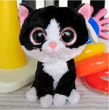 "Ty Pepper the Black and White Cat Beanie Boos Stuffed Plush Toy 5"",big eyes soft animal toy,fabric doll gift"