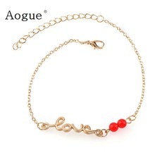 Style Gold Color LOVE Letter Anklet For Women Bracelet Statement Bracelet Red Beads Foot Jewelry(China)
