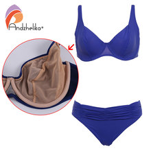 Andzhelika Summer 2017 New Soft Cups Solid Bikinis Women Plus Size Swimwear Bikini Set Beach Swim Suits Maillot de bain AK63380