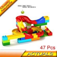47pcs Run Rolling Ball Rail Building Blocks Enlighten Learning Education Bricks Kids DIY Toys Gift Compatible Lego Duplo