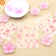 Hot!100PCS/Lot 3Sizes Lovely Pink Cherry Blossoms Cookie&Candy Bag Self-Adhesive Plastic Bags For Biscuits Snack Baking Package(China)