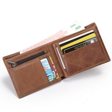 Buy Vintage Men Wallet Genuine Leather Men's Purses Nylon Rfid Cow Leather Short Wallets Credit Card Money Coin Small Holder Pocket for $14.39 in AliExpress store