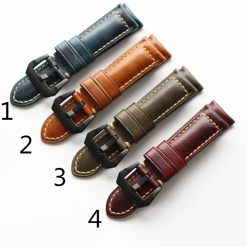 TJP New Arrive Top Quality 24mm Red Brown Blue Green Italian Vintage Genuine Leather Watch Band Strap For PAM Big Pilot Watch<br>