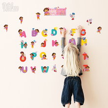 Dora The Explorer Wall Sticker Cartoon Home Decor Girl Stickers for Kids Mirror Kitchen DIY Baseboard Base Strip Decal Nursery