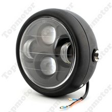 "Black Motorcycle Accessories Projector Daymaker LED 6 1/2"" Head Light Lamp For Harley Bobber Chopper"