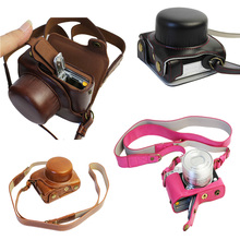 New Luxury PU Leather Camera case Video Bag for Nikon 1 J5, 1J5 10-30mm lens High Quality With Strap Open Battery(China)
