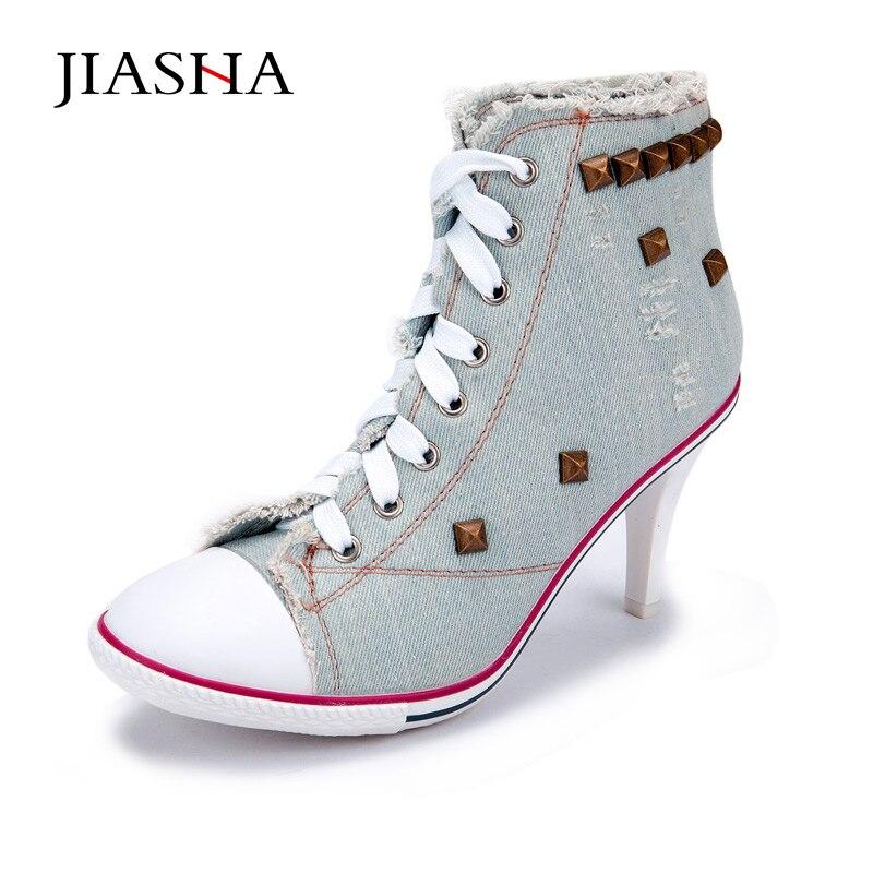 2017 New Arrivals High-heeled canvas shoes Women pumps shoes woman rivet shoes<br>