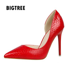 New 2017women pumps Zapatos Mujer Sexy pointed toe patent leather stiletto high heels Spring autumn Club party shoes woman(China)