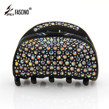 Full AB Crystal Hair Clips Rhinestone Hair Claws Half Moon Shape Acetate Hair Crabs Jeweley For Women Girls Tiaras (EY820011)