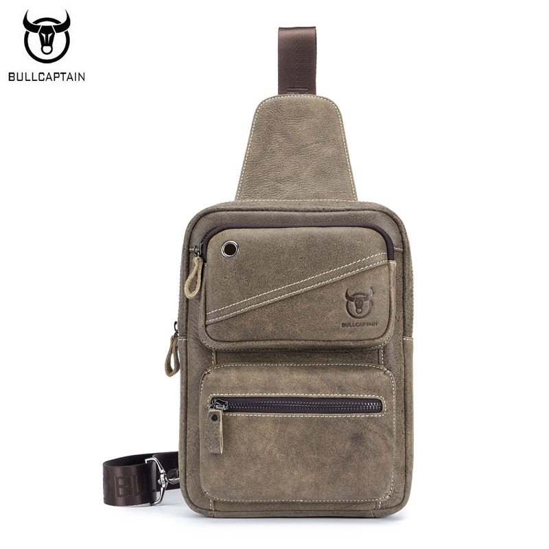 BULLCAPTAIN Casual Men Chest Bag Matte Genuine Leather Male Travel Shoulde Crossbody Bags Vintage Messenger Bags Chest pack<br>