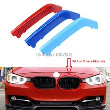 3D M Styling Car Front Grille Sport Stripe ABS Cover Motorsport Power Performance Sticker for 2013-2017 BMW 3 Series F30 F35(China)