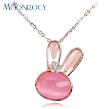 MOONROCY Free Shipping Fashion Crystal Jewelry Crystal Pink Opal Cute Rabbit Necklace Choker for Girl Women Children Girls Gift