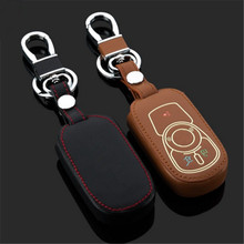 Car Genuine Leather Bag Remote Control Car Keychain Key Cover Case For Buick Envision 3Buttons With Light At Night  L1136
