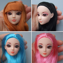Excellent Quality Doll Head with Colorized straight Hair DIY Accessories For Barbie Dolls head 1/6 doll head for girl toy gift(China)