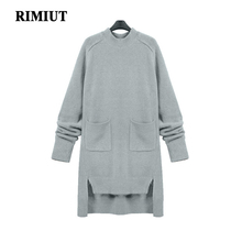 RIMIUT New Women's Autumn Winter Warm Gray Knitted Wool Mini Dresses Fat MM Plus Size Loose Pocket Winter Dress Clothing(China)
