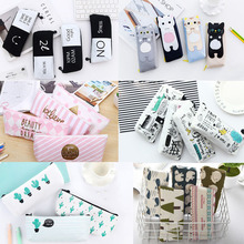 Kawaii Canvas School Pencil case cartoon animal cat Cactus Graffiti Black White Pink pencilcase Estuches Chancery penalty 04948(China)