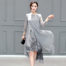 Fashion Autumn New Plus Size Women's Asymmetrical Chiffon Dresses Casual Vintage Printed Gray Loose Robes Ladies Clothing 1E53A